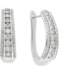 Macy's - Diamond Channel J-hoop Earrings In 14k White Gold (1 Ct. T.w.) - Lyst