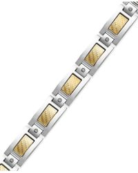 Macy's | Men's Inlay Diamond Bracelet In Stainless Steel And 18k Gold (1/5 Ct. T.w.) | Lyst