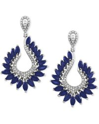 Effy Collection - Sapphire (6-3/8 Ct. T.w.) And Diamond (1/2 Ct. T.w.) Drop Earrings In 14k White Gold - Lyst
