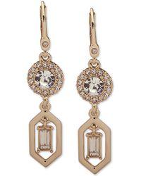Ivanka Trump - Gold-tone Crystal Double Drop Earrings - Lyst