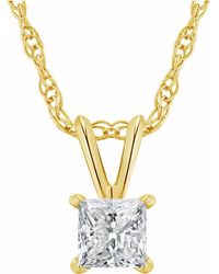 Macy's - Certified Princess Cut Diamond Solitaire Pendant Necklace (1/2 Ct. T.w.) In 14k White Gold Or Yellow Gold - Lyst