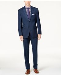 Perry Ellis - Men's Slim-fit Blue Sharkskin Suit - Lyst