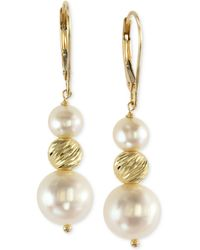 Effy Collection - Effy Cultured Freshwater Pearl Drop Earrings In 14k Gold (5-1/2mm And 11mm) - Lyst