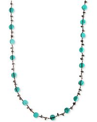 Lucky Brand - Necklace, Reconstituted Turquoise Hammered Coin Necklace - Lyst