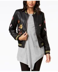Olivia & Grace - Embroidered Faux-leather Varsity Jacket - Lyst