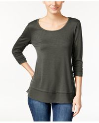 Style & Co.   Chiffon-hem Three-quarter-sleeve Top   Lyst