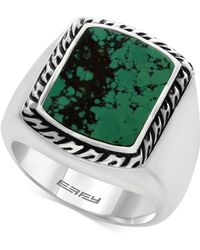 Effy Collection - Men's Manufactured Turquoise Ring (3-9/10 Ct. T.w.) In Sterling Silver And Black Lacquer - Lyst