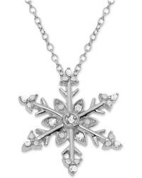 "Macy's - Diamond Snowflake 18"" Pendant Necklace (1/10 Ct. T.w.) In Sterling Silver - Lyst"