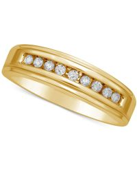 Macy's | Diamond Channel Set Band (1/5 Ct. T.w.) In 14k Gold | Lyst