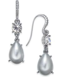 """Charter Club - Small Silver-tone Crystal & Imitation Pearl Drop Earrings, 1"""", Created For Macy's - Lyst"""