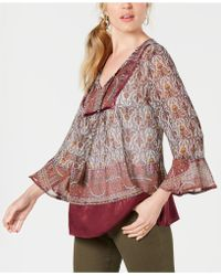 Style & Co. - Printed Peasant Top, Created For Macy's - Lyst