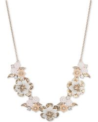 "Marchesa - Gold-tone Crystal Flower Statement Necklace, 16"" + 3"" Extender - Lyst"