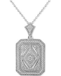 "Macy's - Diamond (1/5 Ct. T.w.) Tile 18"" Pendant Necklace In Sterling Silver - Lyst"
