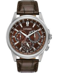 Citizen - Calendrier Brown Leather Strap Watch 44mm - Lyst