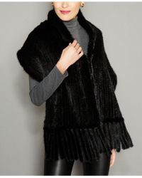 a825fab84ab Lyst - The Fur Vault Knitted Mink-fur-trim Wool-blend Cape in Black