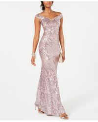 284197de567a Betsy & Adam - Off-the-shoulder Sequined Gown - Lyst