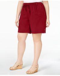Karen Scott - Plus Size Drawstring Cotton Shorts, Created For Macy's - Lyst