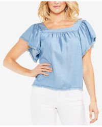 Vince Camuto - Frayed Flutter-sleeve Top - Lyst