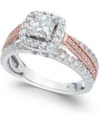 Macy's - Diamond Two Tone Halo Engagement Ring (1 Ct. T.w.) In 14k White Gold And 14k Rose Gold - Lyst