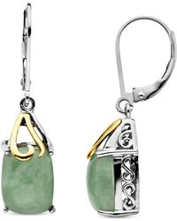 Macy's - 14k Gold And Sterling Silver Earrings, Jade Rectangle Drops (6 Ct. T.w.) - Lyst