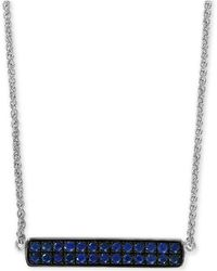 "Effy Collection - Effy® Sapphire Cluster Horizontal Bar 18"" Pendant Necklace (5/8 Ct. T.w.) In Sterling Silver - Lyst"