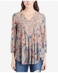 Vintage America - Printed Lace-trimmed Top - Lyst