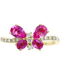 Effy Collection - Effy® Pink Sapphire (1-3/8 Ct. T.w.) & Diamond (1/5 Ct. T.w.) Butterfly Ring In 14k Gold - Lyst