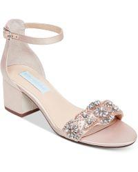 Betsey Johnson - Blue By Mel Block-heel Embellished Sandals - Lyst