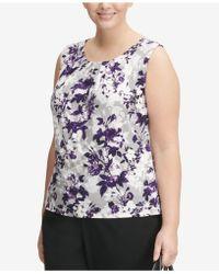 Calvin Klein - Plus Size Pleat-neck Blouse - Lyst