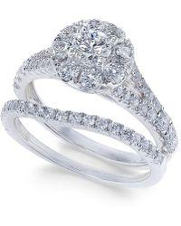 Macy's - Diamond Cluster Bridal Set (1-1/2 Ct. T.w.) In 14k White Gold - Lyst