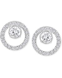 Swarovski - Rose Gold-tone Pavé Circle And Crystal Stud Earrings - Lyst