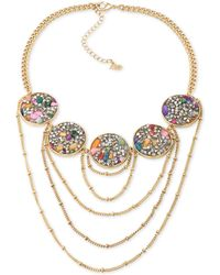 ABS By Allen Schwartz | Gold-tone Stone And Crystal Statement Necklace | Lyst