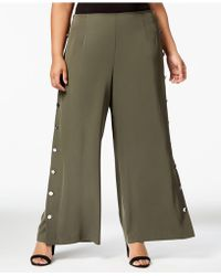 Love Scarlett - Plus Size Buttoned Wide-leg Pants - Lyst