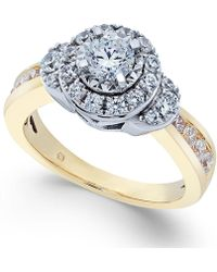 Macy's - Diamond Cluster Halo Ring (1 Ct. T.w.) In 14k Gold And White Gold - Lyst