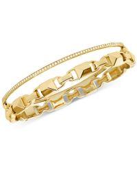 Michael Kors - Mercer Link Double Row Sterling Silver Bracelet - Lyst
