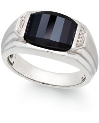 Macy's - Men's Onyx (4-1/2 Ct. T.w.) And Diamond Accent Ring In Sterling Silver - Lyst