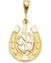 Macy's - 14k Gold Charm, Four Leaf Clover And Horseshoe Charm - Lyst