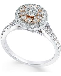 Macy's - Diamond Two-tone Engagement Ring (1 Ct. T.w.) In 14k White Gold - Lyst