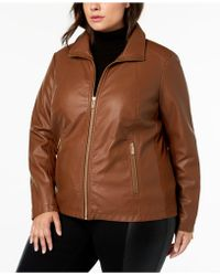 Kenneth Cole - Plus Size Mixed-media Moto Jacket - Lyst