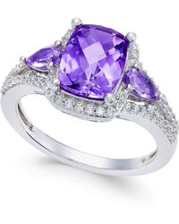 Macy's - Amethyst (1-3/4 Ct. T.w.) And White Topaz (1/4 Ct. T.w.) Ring In Sterling Silver - Lyst