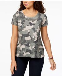Style & Co. - Petite Cotton Camouflage Top, Created For Macy's - Lyst