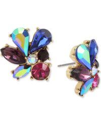 Betsey Johnson - Gold-tone Multi-stone Cluster Stud Earrings - Lyst