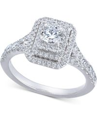 Macy's - Diamond Elevated Halo Engagement Ring (1 Ct. T.w.) In 14k White Gold - Lyst