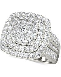Macy's - Diamond Square Cluster Ring (2 Ct. T.w.) In 14k White Gold - Lyst