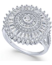 Macy's | Cubic Zirconia Sunburst Cluster Ring In Sterling Silver | Lyst