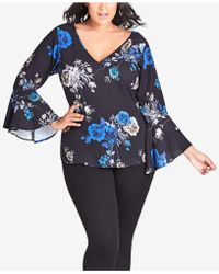 City Chic - Trendy Plus Size Printed Bell-sleeve Top - Lyst
