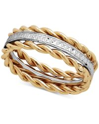 Macy's - Two-tone Rope Ring In 10k Gold & White Gold - Lyst