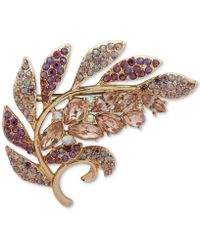 Anne Klein - Gold-tone Stone & Crystal Leaf Pin, Created For Macy's - Lyst
