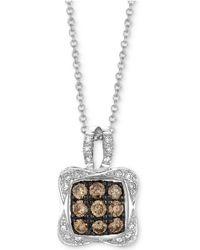 "Le Vian - Chocolatier® Diamond Square Cluster 18"" Pendant Necklace (1/2 Ct. T.w.) In 14k White Gold - Lyst"