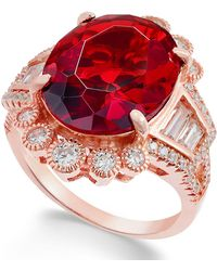 Macy's - Synthetic Ruby & Cubic Zirconia Ring In 14k Rose Gold-plated Sterling Silver - Lyst